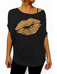 ELFINWomen's I Love The 80's Lips Off Shoulder Short Sleeve T-Shirt