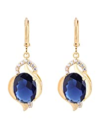 Women Blue Crystal Rhinestone Dangle Drop Earrings Gold Plated Ear Studs Gift Boucles D'oreilles