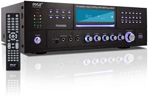 Pyle 4 Channel Wi-fi Bluetooth Amplifier – 3000 Watt Stereo Speaker House Audio Receiver w/ FM Radio, USB, 2 Microphone w/ Echo for Karaoke, Entrance Loading CD DVD Participant, LED, Rack Mount – PD3000BA