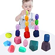 VR CHAMPS Wooden Stacking Balance Building Blocks Set- 20 Pcs Colored Wood Sorting Stacking Balancing Lightwei