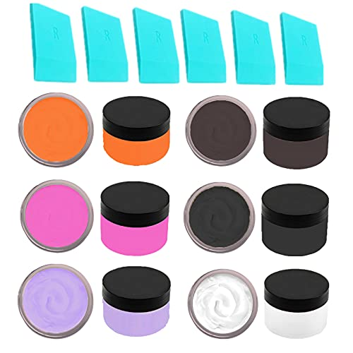 JAJADO Chalk Paste Paint Set 6 Colors with 6 Pcs Mini Squeegees for Silk Screen Stencils, DIY Home Decor Screen Printing Stencil Paste Transfer Kit Painting on Wood, Fabric, Crafts Art Paste