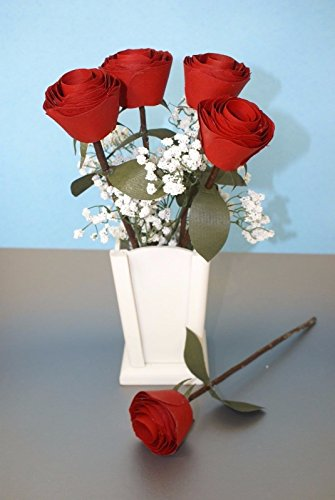 5 Handmade wooden red roses and vase for 5 year wedding anniversary gift, Floral Centerpiece, Flower arrangement