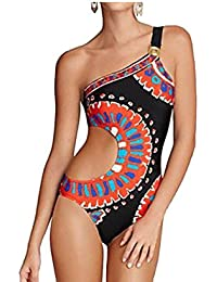 American Indian Triangle Bikini Swimsuit for Women One Shoulder One Piece Swimsuit Sexy Cutout Bathing Suit
