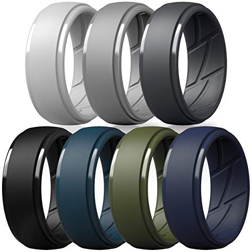 ThunderFit Silicone Wedding Ring for Men, Breathable with Air Flow Grooves - 10mm Wide - 2.5mm Thick