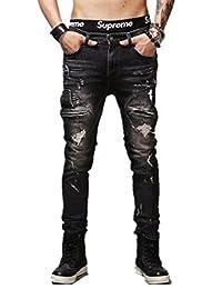 Jinmen Men's Slim Fit Black Stretch Distressed Ripped Skinny Biker Jean