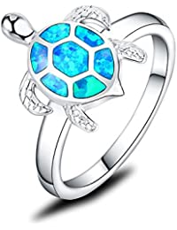 925 Sterling Silver Turtle Ring Honu With Created Black Opal Shell Halo Solitaire