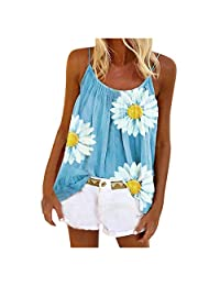 OCEAN-STORE Womens Camisole Chrysanthemum Vest Sleeveless T-Shirt Tank Top Plus Size Shirt