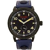 Wrangler Men's Watch, 48.5mm Black Case, Yellow Black Face, Blue Band, Second Hand (WRT5100-2A)