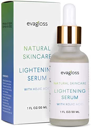 Skin Lightening Serum with Kojic Acid - Skin Whitening & Brightening Beauty Care Cream For Body, Face, Neck, Bikini, Sensitive Areas & All Skin Types - Dark Spot Corrector by Evagloss