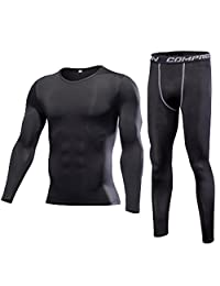 Findci Long Sleeve Shirt Tight Trousers Mens Running Clothings Leisure Suits
