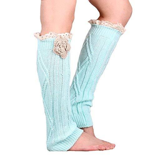 Bleu ciel  Chaussettes en coton européennes et américaines en laine, dentelle, tricotées, fleurs faites à la main, jambes chaudes, bottes (couleur   rose)