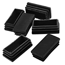 25mmx50mm Plastic Blanking End Cap Rectangle Tubing Tube Inserts 6 Pcs