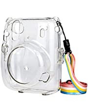 Camera Case Protective Clear Cover Compatible with Fujifilm Instax Mini 11 Instant Camera with Detachable Adjustable Strap