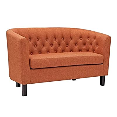 Hawthorne Collections Upholstered Fabric Loveseat in Orange