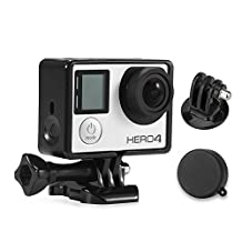 Luxebell Frame Mount for Gopro Hero4,Hero3+ & Hero3-Light and Compact Housing for Your Action Camera- Lens Cap Cover/mount Adapter/luxebell Microfiber Cleaning Cloth
