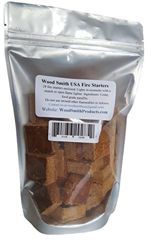 Fire Starter Wood Squares, 24 Individual Natural Quick,Safe, Sure Fire Lighter Squares in Each Resealable Bag, BBQ Grills, Smokers, Green Egg, Kamados, Campfire, Will Not Flavor Food
