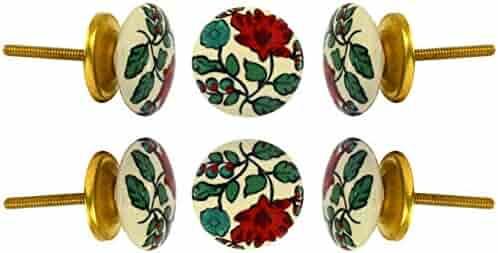Set of 6 Ceramic Plucks Cabinet Wardrobe Knobs Kitchen Cupboard Door Knobs Dressser Pull by Trinca-Ferro