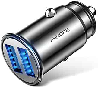AINOPE Car Charger, 4.8A Aluminum Alloy Car Charger Adapter Dual USB Port Fast Car Charging Mini Flush Fit Compatible iPhone Xs max/XR/x/7/6s, iPad Air 2/Mini 3, Note 9/Galaxy S10/S9/S8 – Black