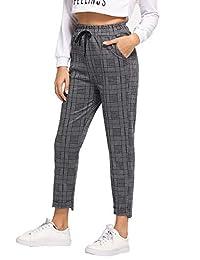 SweatyRocks Corbata de Mujer Cintura Alta a Rayas a Cuadros Casual Pantalones Largos Bolsillos, Grey#3, S