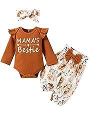 جميل الرضع طفل بنين بنات إلكتروني طويل sleev رومبير+ السراويل الطباعة الأزهار+ القوس عقال وتتسابق مجموعة (Color : Brown, Size : 6M)