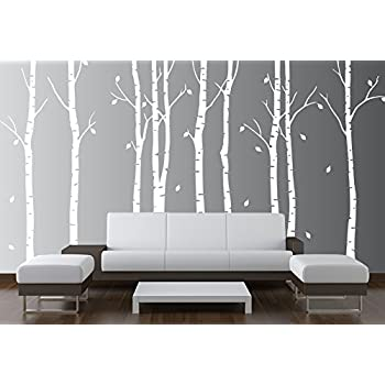 Birch Tree Wall Decal Nursery Forest Vinyl Sticker Removable Animals  Branches Art Stencil Leaves (9