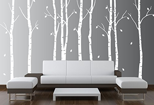 Birch Tree Wall Decal Nursery Forest Vinyl Sticker Removable Animals Branches Art Stencil Leaves (9 Trees) #1263 (Matte White, 96