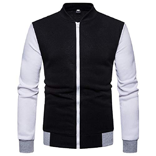 Men Bomber Jacket Zip Contrast Casual Collar 5 Stand Coat with up Howme pUa1q1