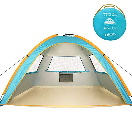 ZOMAKE Pop Up Beach Tent 2-3 Person, Lightweight Portable Sun Shelters Sun Shade Instant Tent Outdoor Cabana with UPF 50 UV Protection for Baby, Family