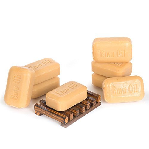 Soap Works Emu Oil Bar Soap, 8-Count with Free Soap Works Natural Wood Soap Dish Acid Deep Dish