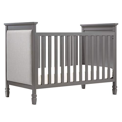 Davinci Lila 3 in 1 Upholstered Convertible Crib, Slate with Pebble Grey -