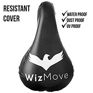 WizMove Bike Gel Seat Cushion - Improved Non-Slip Bottom Design with Water Resistant Cover – Extra Comfort for Road, Mountain or Spinning Class Cycling - Great for Indoor and Outdoor Riding