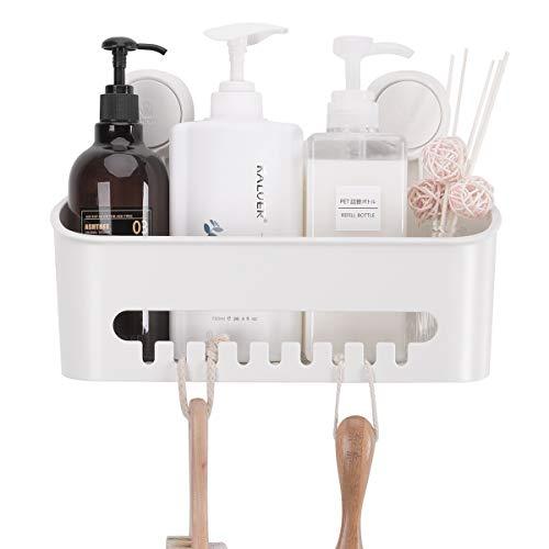 TAILI DIY Drill-Free Removable Vacuum Suction Cup Shower Caddy Wall Shelf Storage Basket for Shampoo & Toiletries, Kitchen Bathroom Bedroom Organizer