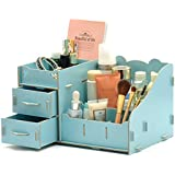 EF(TM) Desktop cosmetics receive a box carrying wooden dresser makeup box office drawer jewelry boxes desktop large belt (Panda) (Blue) by EF(TM)
