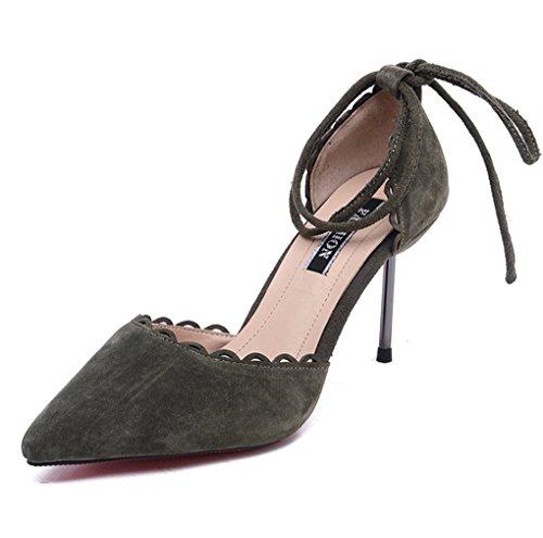 Moda Zapatos LBDX Profunda Zapatos Verde Poco de Alto de Mujer Boca de de Primavera Tacón de Militar nqIRd4CIwr