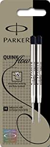 Parker Quinkflow - Recambio para bolígrafos de punta de bola (trazo medio, 2 unidades), color negro