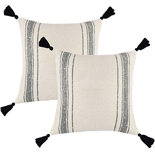 Woven Nook Decorative Throw Pillow Covers ONLY for Couch, Sofa, or Bed Set of 2 18 x 18 inch Modern Quality Design 100% Cotton Thick Woven Tassel Pom Pom Luca