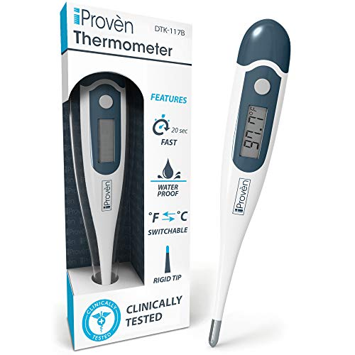 [New Version] iProvèn's Digital Oral Thermometer for Fever - Highly Accurate & Fast Readings - with Fever Alarm & Waterproof - iProvèn's DTK-117B 20 Second Rectal Thermometer