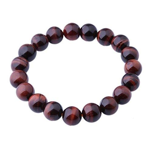 AAA 10mm Tiger Eye Stone Bracelet Handmade Stretch Strand Bracelets (Eye Tiger Red)