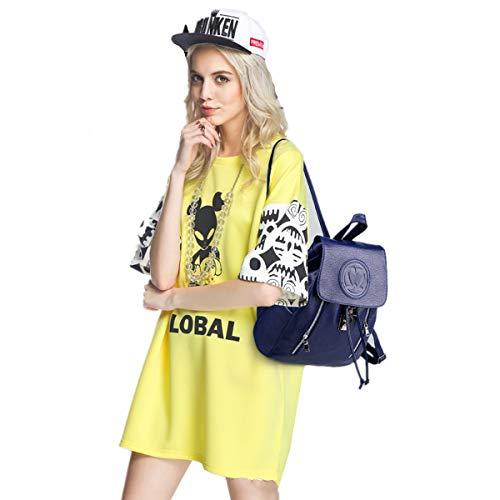 las viaje 4 moda popular casual del mochila Azules la de la la de Bolso LUXIAO mujeres escuela único de cuero de del de PU Bnx6YqR