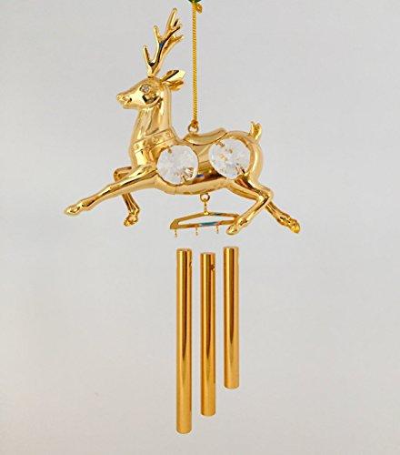 Reindeer 24k Gold Plated with Swarovski Crystal Ornament Wind - Plated Gold Reindeer
