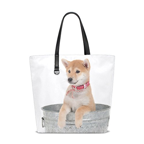low White Fluffy Puppy Adorable Pet Tote Bag Purse Handbag For Women Girls ()