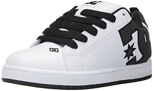 DC Men's Court Graffik SE Skate Shoe,White/Charcoal,11 D US