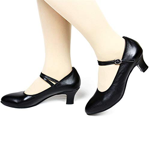 Dancing Black Shoes Latin Lady 0 Soft 25 Leather Outdoor Cm Dancing Shoes 22 And 3 Cm Size Adult Height 5cm 5 To aUqwapSR