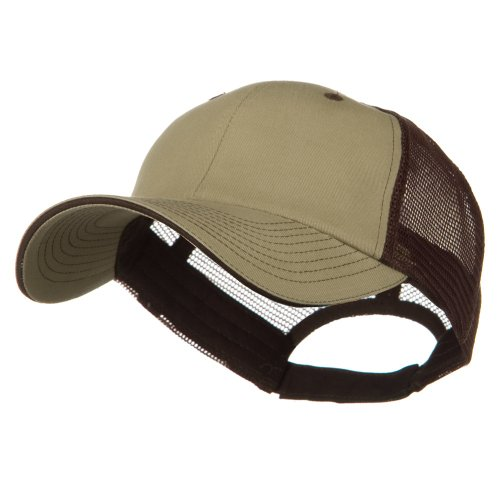 e4Hats.com Big Size Garment Washed Cotton Twill Mesh Cap - Khaki Brown OSFM ()