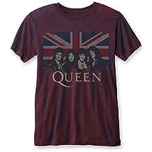 Queen 'Vintage Union Jack (Navy / Red)' Burnout T-Shirt