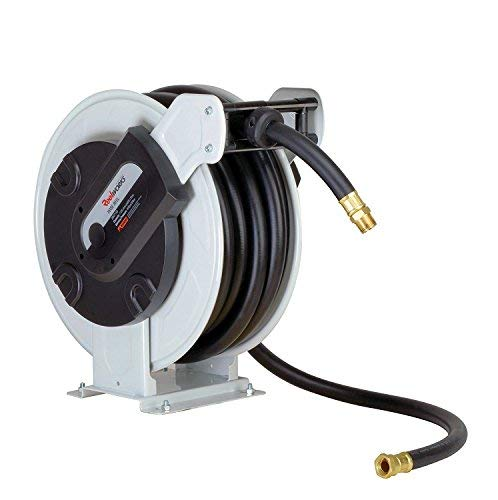 REELWORKS Fuel Hose Reel Retractable Spring Driven Steel Construction PRO Heavy Duty Industrial Dual Arm & Pedestal 1
