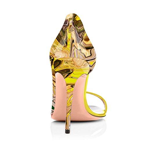 Partito Umeixi Scarpe Stiletti D Tallone Donne Umexi Della Handmadefashion Punta Aperta orsay Multicolor 16d7Oqpxw