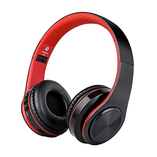 Over Ear Wireless Headphones, Hi-Fi Bass Bluetooth Headphones, Built-in Noise Reduction Mic, Foldable Bluetooth Headset with SD Card Slot for Airplane Travel Cell ()