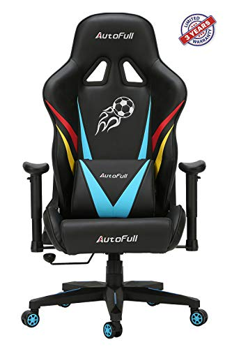 AutoFull High-back Executive Swivel Mesh Chair Racing Style with Lumbar Support (Blue) Most Popular