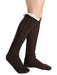 Avidlove Lace Trim Wool Knitted Crochet Long Socks Winter Leg Warmers